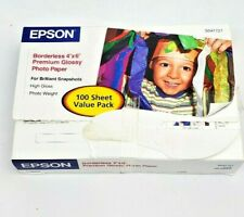 NEW Open Box Epson Premium Photo Paper Glossy Borderless 4x6 68 lb 100 Sheets