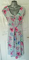 ❤ JOE BROWNS Ladies Size 18 Light Blue Pink Floral Stretchy Dress Ties at Back