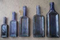 100+ Year Old WINDOW SET 5 Antique Amethyst Mold Blown Medicine Bottles