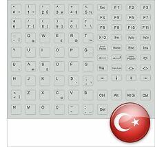 TASTATURAUFKLEBER TÜRKISCHER TURK KEYBOARD STICK GREY TÜRK KEYSTICK