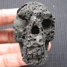 "70mm 2 3/4"" Black Hot Lava Crystal Skull Gem Gemstone Healing Skeleton"