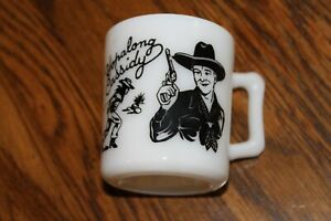 Vintage 1950s BLACK Hopalong Cassidy Childs Milk Mug Cup Hazel Atlas White Glass