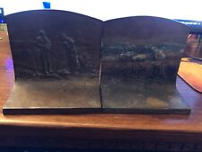 New listing Vintage 1900s solid bronze bookends depicting Peasants farming.