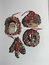 Vintage Lot Of 4 Thin Metal Flower Fruit Basket Santa Christmas Tree Ornaments