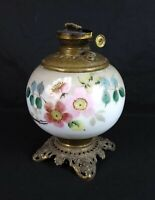 Antique Edward Miller E M & Co The Solar Floral Porcelain Oil Lamp
