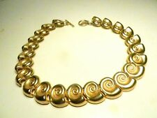 ANNE-KLEIN-1980's Vintage--Chunky-SNAIL LINKS Necklace/Choker TOGGLE-Lion Tag