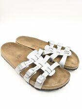 BIRKI'S BY Birkenstock XENIA Silver Soft Footbed Women's 42 US 11 Narrow Sandals