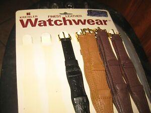 Kreisler NOS Tooled Leather,1 piece,tan watchband,fits 11/16 watch.8 1/2 long