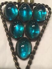 "1940's Fur Clip 3/4"" Oval Green Crystal Cabochons 3,2,1 Stacked Robe Twist Edge"