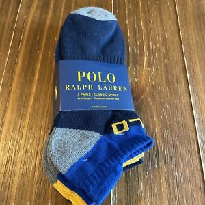 Polo Ralph Lauren Mid Cut Sock With Arch Support Cushioned Comfort Soles 3 Pack
