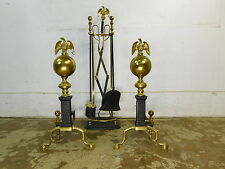 Vintage Antique Federal Style Eagle & Ball Brass Andirons & Fireplace Tools Set