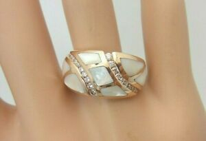 Kabana 14K Rose Gold Mother of Pearl Diamond Ring 0.26 CT