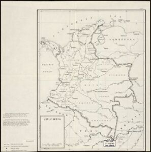 """24"""" x 24"""" 1952 Map Of Colombia & Adjacent Countries"""