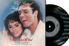 "CLIFF RICHARD 7"" Single ""ALL I ASK OF YOU.""  WITH SARAH BRIGHTMAN    NEAR MINT"
