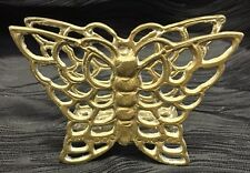 Vintage Brass Butterfly Napkin or Mail Holder Double Sided Rare Butterflies