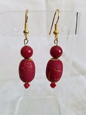 Handcrafted red and gold beaded dangle earrings