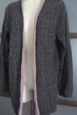 Coldwater Creek Sweater Duster XL 18 Women's Vest Gray Purples 100% Wool