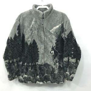 Vintage Black Mountain Wolves Wolf Deep Pile Plush Thick Fleece  Jacket Size M