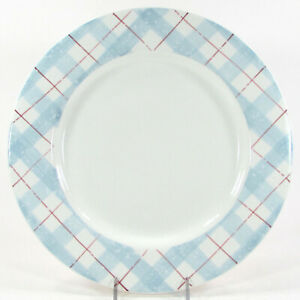 """Target Home WINTER FROST PLAID 11"""" Dinner Plate Christmas Blue Red White"""