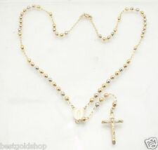 """4mm 20"""" Guadalupe Medal Cross Rosary Chain Necklace Real 14K TriColor Gold"""