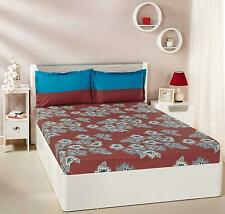 Solimo Floral Flakes 100% Cotton 144 TC Double Bedsheet 2 Pillow Covers Maroon