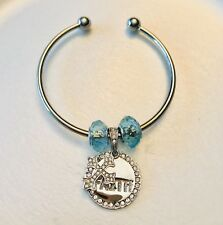 silver bracelet bangle women, Christian, Cross, Turquoise Color
