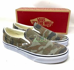 VANS Classic Slip-On Washed Green Camo Canvas Men's Size Sneakers VN0A4U3819W