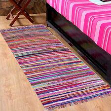 Multi Colore Chindi Rag Tappeto Fair Trade recyled cucita a mano Runner 60x200cm