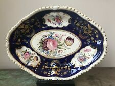 c1820s Antique Derby Porcelain Dessert Dish Cobalt Blue Ground Handpainted Bloor