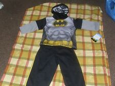 BATMAN 2T 2 PIECE OUTFIT W/HOOD & MASK ATTACHED BLACK AND GRAY, Everyday, Fall,