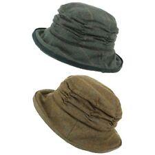 Tweed Cloche Hat Ladies Wool Winter Brim Hawkins BROWN GREEN Ruched Crown