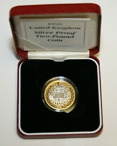 1998 Sterling Silver Proof £2.00 Capsuled, Cased As Issued With Certificate