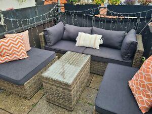 Garten Rattan Lounge Möbel Sitzgruppe Sofa Sessel & Tisch mit Glas wie NEU