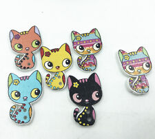 Mixed color Printed cat buttons Wooden DIY decoration Sewing Scrapbooking 26mm
