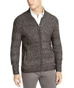 69.5 NWT Tasso Elba Men's Full-Zip Marled Sweater Cardigan Black XL 0616