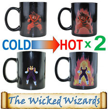 2 x Dragonball-Z Super Saiyan Power Up Heat Changing Coffee Mug - Goku & Vegeta