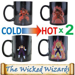 2 x Dragonball-Z Super Saiyan Power Up Heat Changing Coffee Mug - Goku & Vegeta