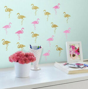 FLAMINGOS wall stickers 40 decals pink and gold glittery Tropical Bird bathroom