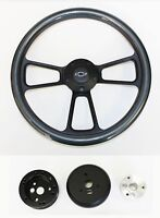 "Nova Chevelle Impala El Camino Steering Wheel Carbon Fiber on Black 14"" Bowtie"