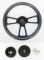 "Nova Chevelle Impala El Camino Steering Wheel Carbon Fiber on Black 14"" Bowtie"