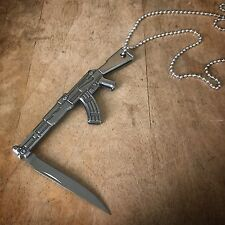 AK-47 Rifle Knife Necklace - Silver Stainless Steel Pendant Charm, Jewelry Mini