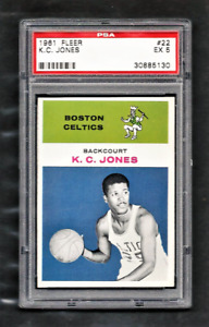 1961 Fleer #22 K.C. JONES Boston CELTICS PSA 5 EX