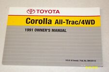 1991 Toyota Corolla All-Trac / 4WD Owners Manual User Guide Reference Operator