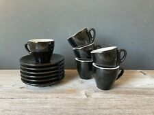 Nuova Point Espresso Cups Saucers 12 pc Set Black Italy thick walled