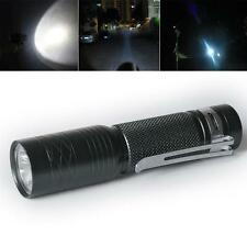 CREE Q5 LED Mini Flashlight Torch 300LM Lamp Light 14500 AA 3-mode with Clip D,