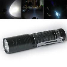CREE Q5 LED Mini Flashlight Torch 300LM Lamp Light 14500 AA 3-mode with Clip D,