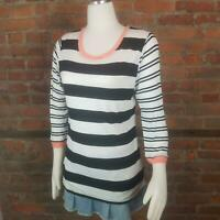 Tart Stitch Fix Women's Knit Top Stripes White w/Black Peach 3/4 Sleeves Sz M