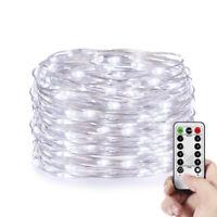 10M 100 LED  Micro Draht Lichterkette mit Fernbedienung und Timer - Kaltweiß aa