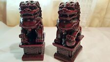 Pair Red Chinese Feng Shui Foo / Fu Lion Dogs Temple, Guardian Lions small size