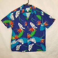 Vtg Kai Nani Hawaii Button Up Hawaiian Shirt Blue Floral Mens XL Aloha Camp